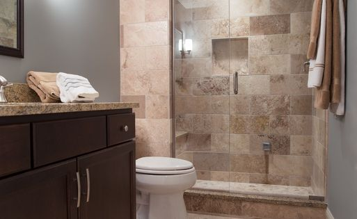 contemporary 3 4 bathroom with partial backsplash. Black Bedroom Furniture Sets. Home Design Ideas