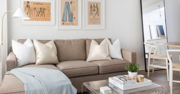 Neutral Living Space Featuring L Shape Sectional Couch And