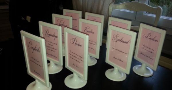 nom de tables mariage rose violet pinterest marque place tables and table plans. Black Bedroom Furniture Sets. Home Design Ideas