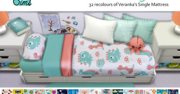 32 bedding 'childish' mattress recolours at Unobservantsims via Sims 4 Updates ...
