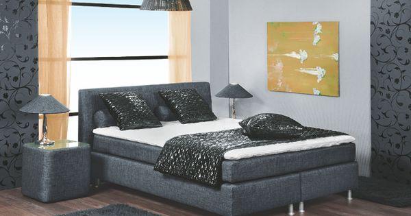 Boxspringbett luxus  Boxspringbett Luxus 140 X 200 Cm Woody 102-00007 Grau Stoff Modern ...