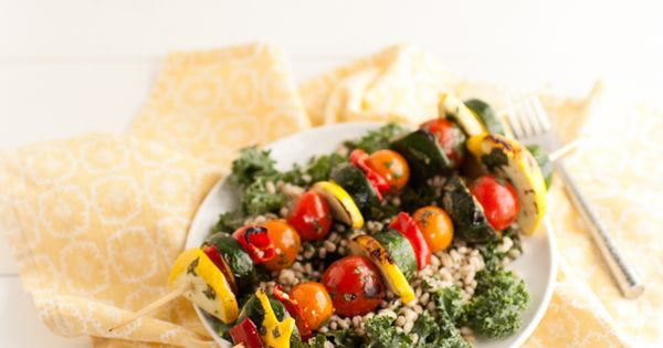 Cilantro-Lime Marinated Veggie Kabobs with Barley Kale Salad | Recipe ...