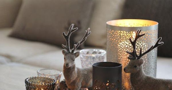 holiday decor, xmas, candles + pine cones, browns + pewter