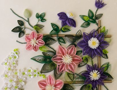 Quilled clematis | Craft Ideas | Pinterest | Clematis and Flower