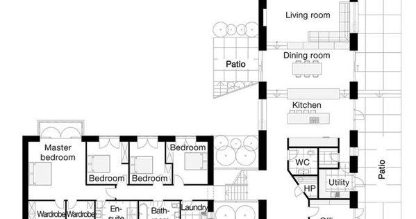 L-shaped Four Bedroom Open Floor Plans