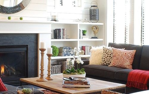 houzz small living room fireplace with built in bookcases on either side living 16512