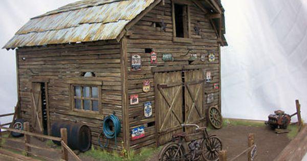1 24 1 25 Barn Garage Diorama For Sale On Ebay: 1:18 Chevelle Harley Davidson Barn Find Project Weathered