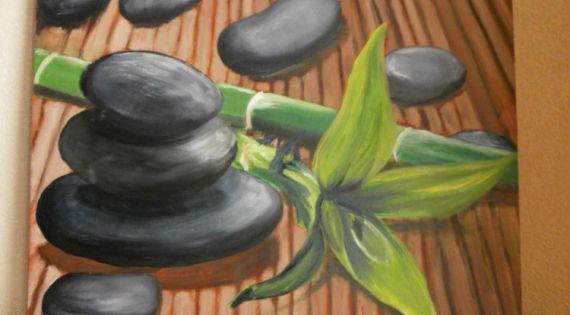 tableau peinture cailloux bambou zen peinture a l 39 huile zen zen pinterest tableau. Black Bedroom Furniture Sets. Home Design Ideas