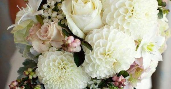 Amazing Bouquet with Ivory Dahlias, Soft Blush Roses, Stars of Bethlehem, Snowberries and Dusty Miller
