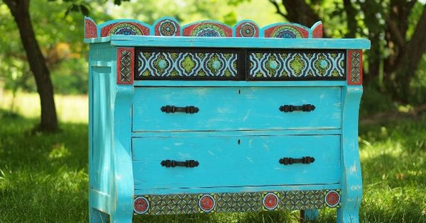 Upcycled Turquoise Dresser with Clay Tile Mosaic Embellishments and Vintage Hardware, what