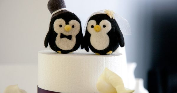 Bride and Groom, needle felted penguin cake topper
