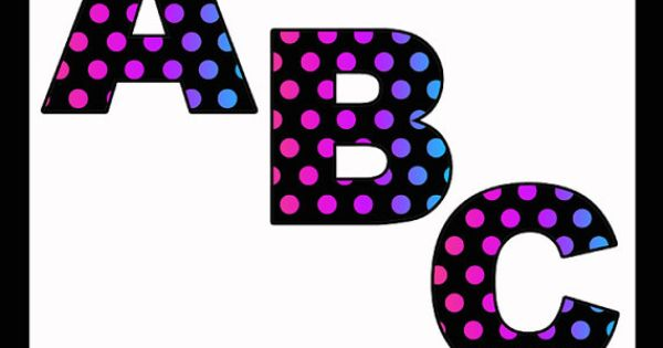 Rainbow Polka Dot Alphabet Letters Printable Clip Art
