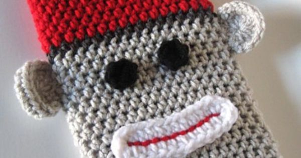 Sock Monkey Case for Nook Nook Color Kindle eReader in Grey Red