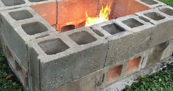 diy fire pit made from cinder blocks for the home pinterest diy fire pit cinder block. Black Bedroom Furniture Sets. Home Design Ideas