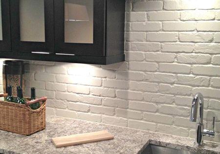 painted brick backsplash faux brick or veneer kitchen