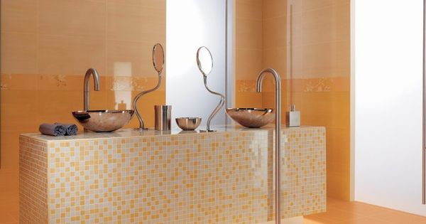 Salle de bains design orange for Deco salle de bain orange