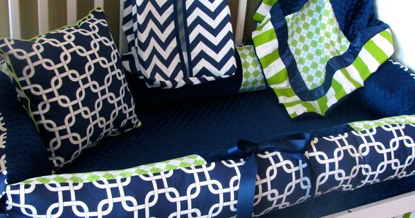 I Love this color combo! bedding for a baby boy