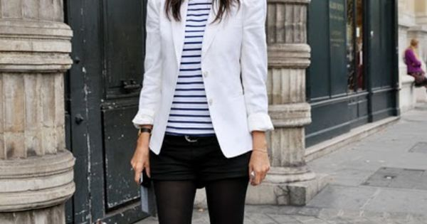 Emmanuelle Alt, white blazer, Breton stripe tee, black shorts on top of