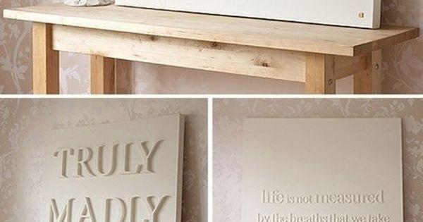 DIY wall art idea | Glue wood letters to a canvas, spray