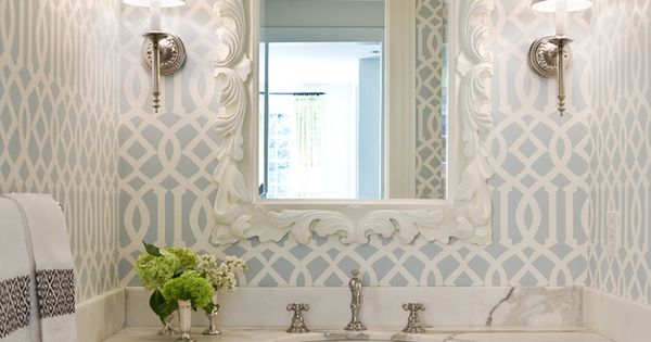beautiful bathroom wallpaper - House of Turquoise: Graciela Rutkowski Interiors