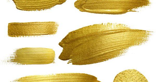 Gold Paint Smear Stroke Stain Set Vector Art Illustration Gold Paint Golden Painting Texture Art