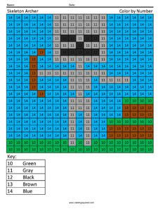 Minecraft Color By Number Coloring Squared Minecraft Skeleton Minecraft Coloring Pages Minecraft Printables