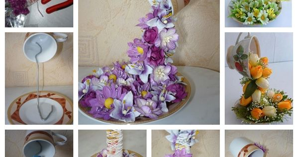 DIY Topiary Flower Flying Cup for home Decoration . diy crafts home