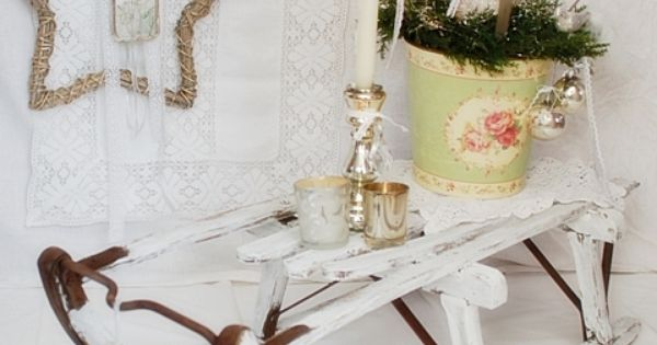 vintage weihnachtsdeko schlitten shabby chic. Black Bedroom Furniture Sets. Home Design Ideas