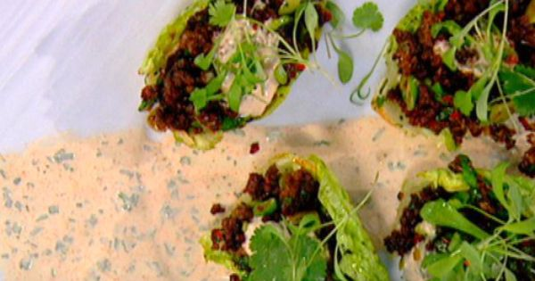 Crispy Fried Beef with Gem Lettuce and Creme Fraiche ...