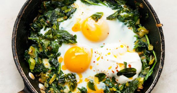 Skillet-Baked Eggs with Spinach, Yogurt, and Chili Oil. I've tried a similar