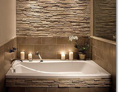 Love the ledger stone backsplash- master bathroom