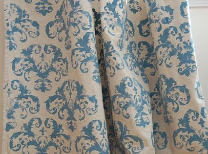 Creative Outlets of a Thrifty Minded Momma: Stenciled Drop Cloth Curtains___ maybe