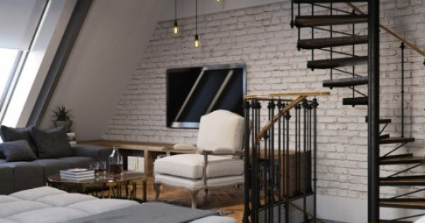 salon loft esprit industriel escalier m tal suspensions industrial loft living room. Black Bedroom Furniture Sets. Home Design Ideas