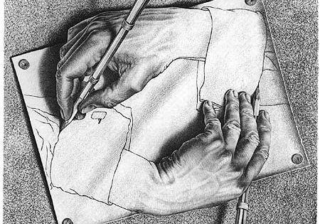 M.C. Escher Drawing Hands Art Print