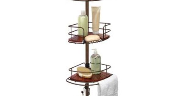 Tension Pole Shower Corner Caddy In Teak Oil Rubbed Bronze