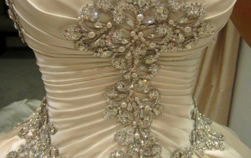 Diamonds and pearls on a wedding dress corset prom for Wedding dresses with pearls and diamonds