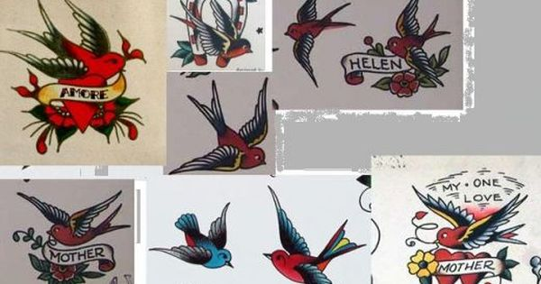MINI SWALLOW BIRD /& ANCHOR NECKLACE NAUTICAL JERRY GIRL