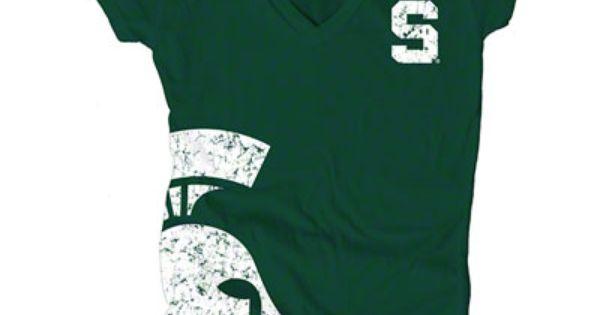 Michigan State Spartans Women S Dark Green Cossett Mascot Deep V Neck Tee Spartans Spirit Shirts School Spirit Wear Michigan State Spartans