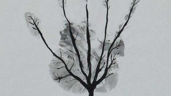 Diy kids adult hand print art tree black and white crafts