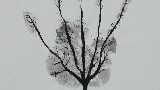 Diy kids adult hand print art tree black and white crafts
