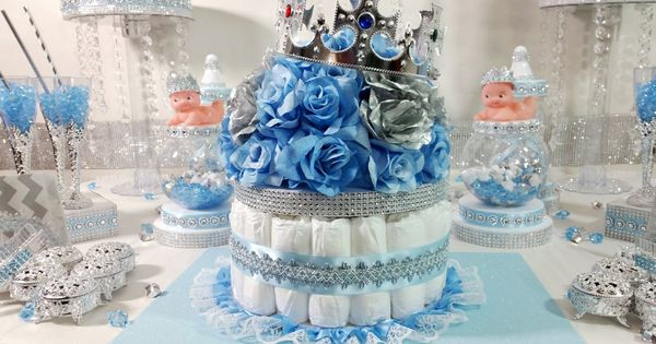 Diaper Cake Boys Centerpiece With Crown For Royal Prince