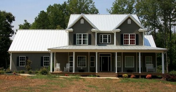 White Metal Roof With Dark Gray Siding Exterior Paint Colors For House House Roof Metal Roof Houses