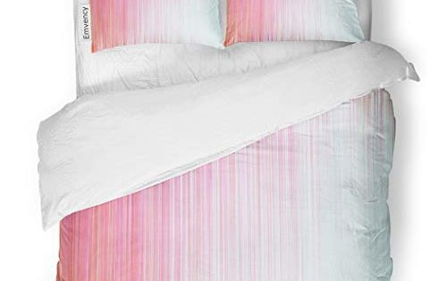 Sanchic Duvet Cover Set Smooth Pink Candy Stripes High Resolution Suitable Decorative Bedding Set With Pillow Sham Twin Duvet Cover Sets Bed Decor Bedding Set