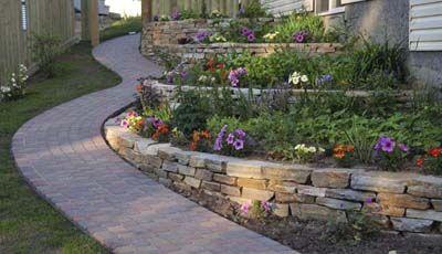 Dry Stacked Stone Wall Cincinnati Jpg Terrace Garden Design Sloped Backyard Terraced Landscaping