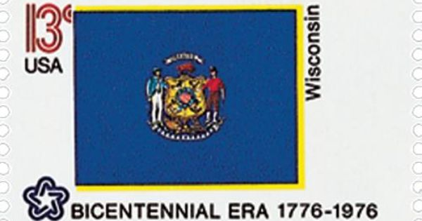 1662 1976 13c State Flags Wisconsin Stamp Collecting Stamp
