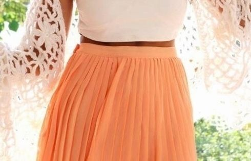 pleated skirt and love the peach color!