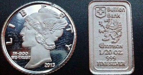 1 Gram 999 Fine Pure Silver Mercury Dime Round 1 20 Oz Bullion Bank Silver Bar Silver Bars Silver Bullion Pure Silver