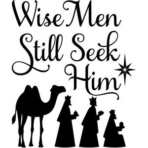 Stencil Christmas Blocks Set of 3 Christmas Wise Men Still Seek Him Manger Jesus