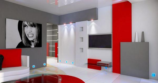 idée deco salon gris blanc rouge | Deko