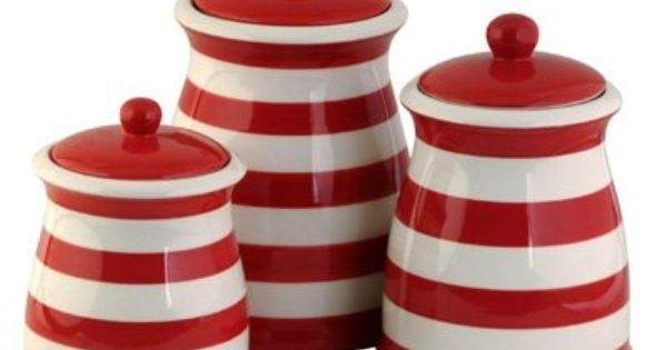 Red & White Stiped Ceramic Kitchen Canister Set.super